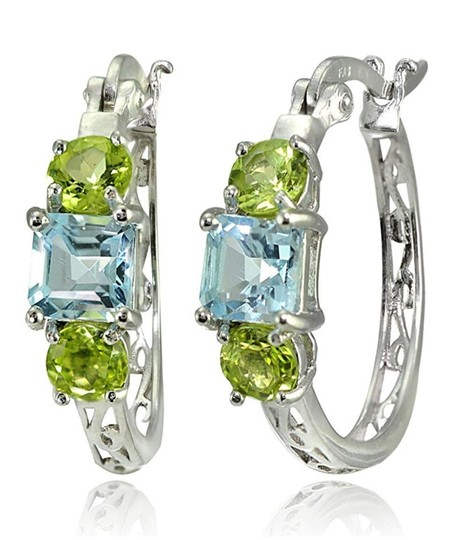 Other BLUE TOPAZ / PERIDOT THREE STONE FILIGEE HOOP EARRINGS Image 2