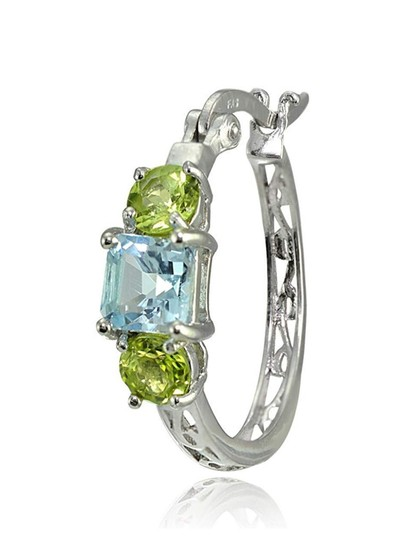 Other BLUE TOPAZ / PERIDOT THREE STONE FILIGEE HOOP EARRINGS Image 3
