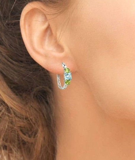 Other BLUE TOPAZ / PERIDOT THREE STONE FILIGEE HOOP EARRINGS Image 4