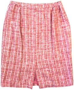 Lafayette 148 New York Tweed Pencil Formal Skirt Pink