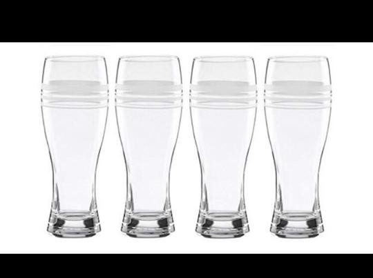 Kate Spade Glass New York Library Stripe 4-piece Wheat Beer Set Barware Image 4