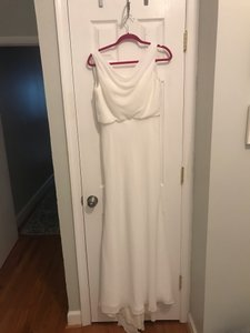 White Chiffon Pretty Long with Cowl Neck Formal Bridesmaid/Mob Dress Size 6 (S)