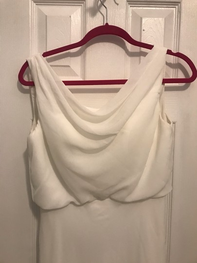 White Chiffon Pretty Long with Cowl Neck Formal Bridesmaid/Mob Dress Size 6 (S) Image 1