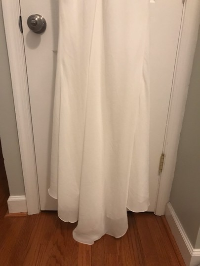 White Chiffon Pretty Long with Cowl Neck Formal Bridesmaid/Mob Dress Size 6 (S) Image 4