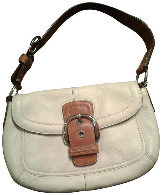 Item - Soho Small Buckle Flap White with Tan Strap Leather Shoulder Bag