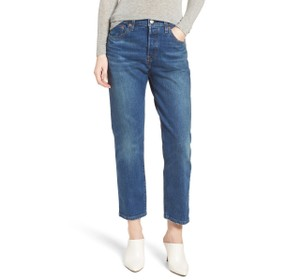 Levi's Crop High Waist Straight Leg Jeans-Medium Wash