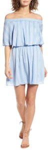 Show Me Your Mumu short dress Blue Off Shoulder Stripe Mini Summer Boho on Tradesy