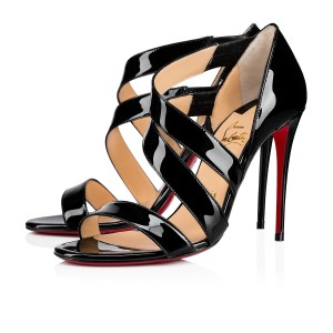 Christian Louboutin Asymmetric Open Toe Strappy Black Sandals