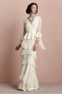 BHLDN Ivory Silk Banderole Vintage Wedding Dress Size 2 (XS)