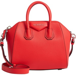 Givenchy Leather Antigona Tote Satchel in Pop Red