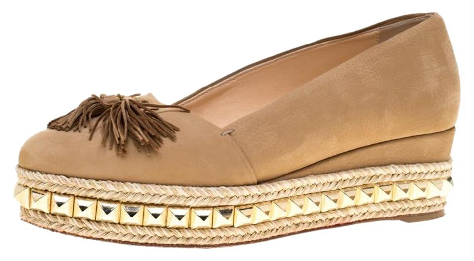 competitive price 4620d e8911 Christian Louboutin Metallic Nubuck Leather Carmel Ca Wedge Espadrille  Flats Size EU 37 (Approx. US 7) Regular (M, B) 50% off retail