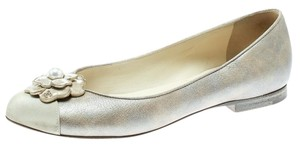 Chanel Leather Pearl Beige Flats