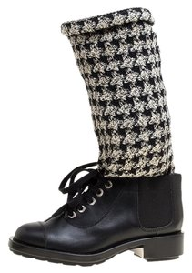 Chanel Leather Tweed Chain Black Boots