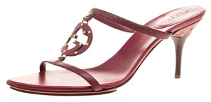 Gucci Leather Studded Burgundy Sandals