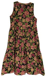 MDS Stripes short dress floral print : navy blue, yellow, pink and green on Tradesy