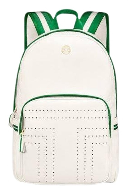 Item - Perforated Ivory Pearl & Green Nylon Backpack