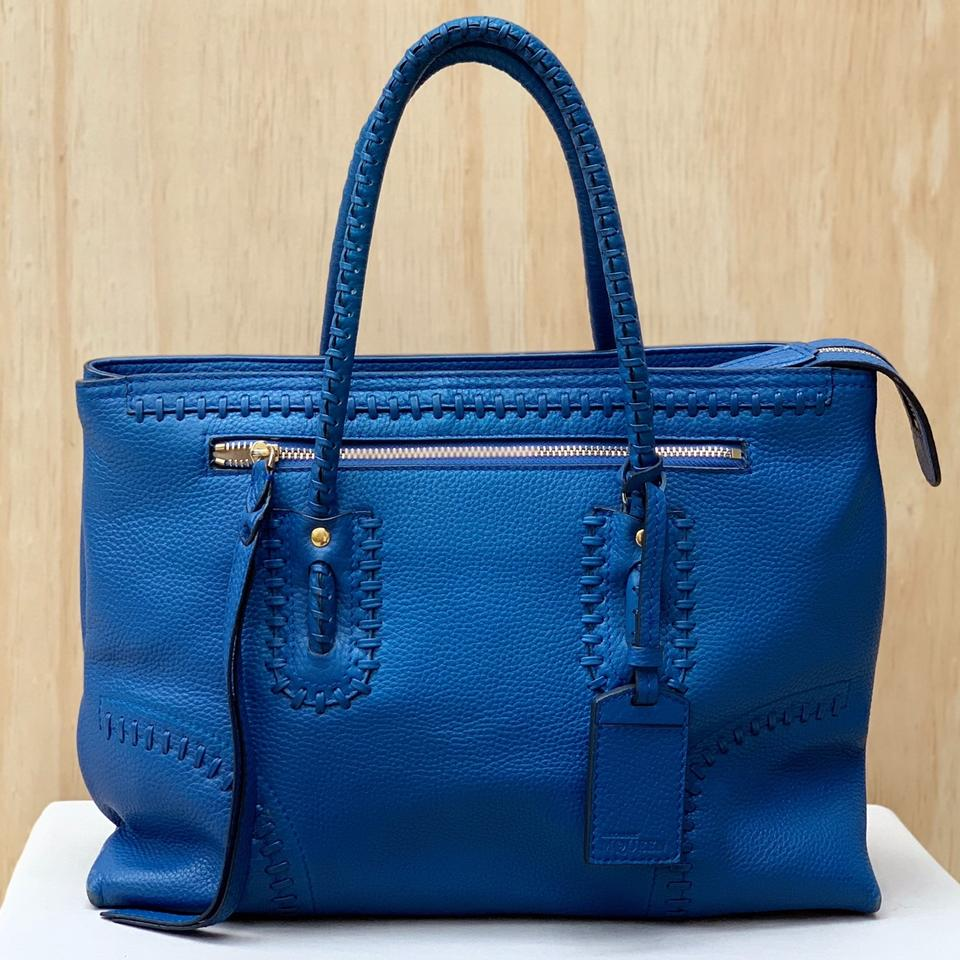 9e4bd7bca Alexander McQueen Grained Folk Whipstitched Blue Leather Tote - Tradesy