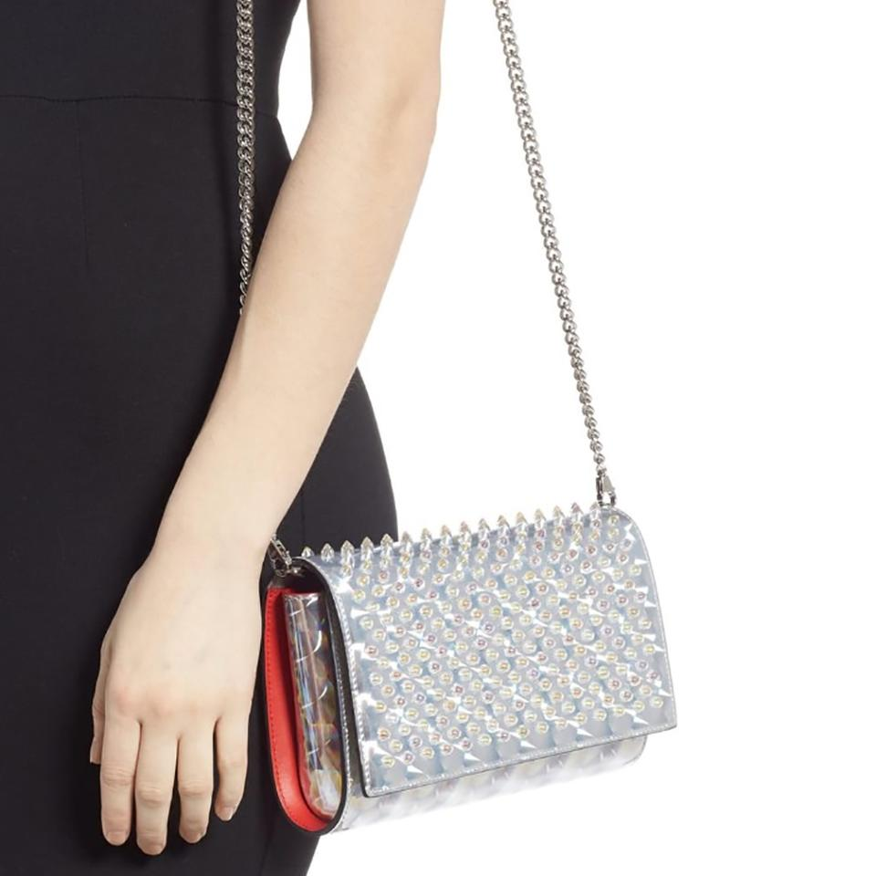 4330c7ae4c7 Christian Louboutin Clutch Paloma Studded Silver Synthetic Cross Body Bag  38% off retail