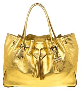 Prada Leather Tassels Tote in Gold