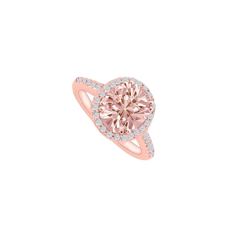 40899d93eebe7 Pink Morganite and Cz Halo Rose Gold Vermeil Engagement Ring 71% off retail
