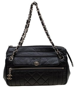 Chanel Leather Satin Perforated Shoulder Bag