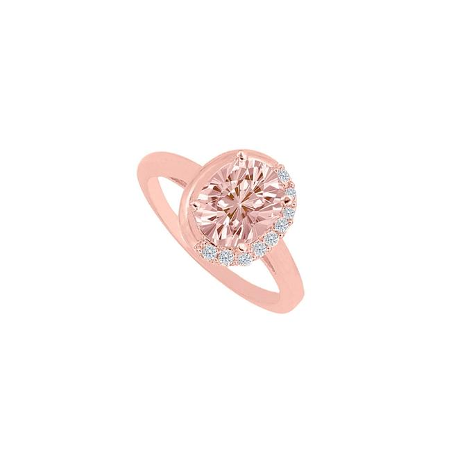 Pink Morganite And Cubic Zirconia Rose Gold Engagement Ring Tradesy