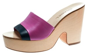 Chanel Leather Platform Pink Sandals