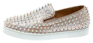 Christian Louboutin Suede Glitter Leather Beige Flats