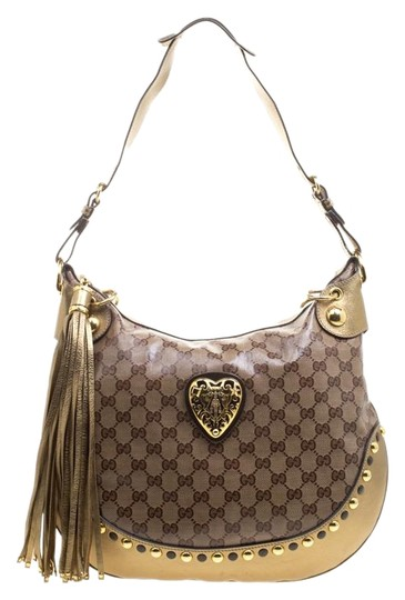 Preload https://img-static.tradesy.com/item/25524964/gucci-beigegold-gg-crystal-and-leather-babouska-crest-gold-canvas-hobo-bag-0-1-540-540.jpg