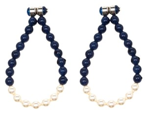 Chanel Navy Blue Bead Faux Pearl Magnetic Hoop Earrings