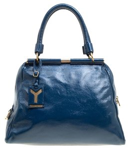 Saint Laurent Patent Leather Majorelle Satchel in Blue