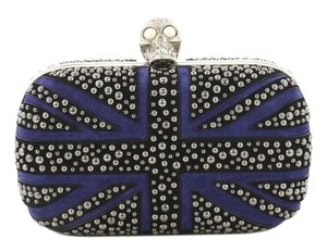Alexander McQueen Britannia Suede Black and Blue Clutch
