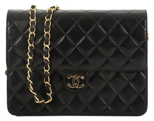 Chanel Vintage With Chain Black Clutch