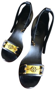 Tory Burch navy blue yellow Wedges