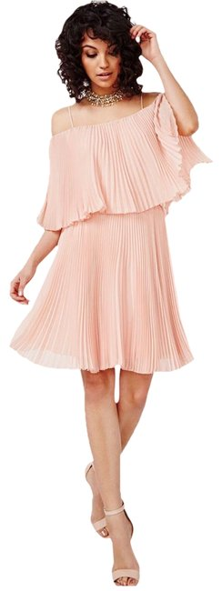 Item - Blush Pleated Chiffon Mid-length Cocktail Dress Size 12 (L)