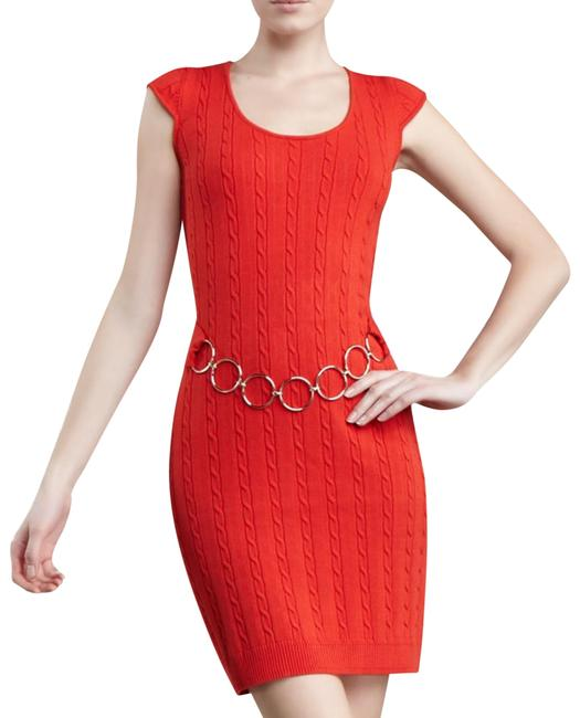 Item - Red Orange Cable-knit Chain Belted Sweater Short Casual Dress Size 6 (S)