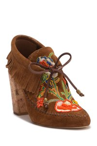 Tory Burch Runway Boho Brown Beaded Moccasin Boots
