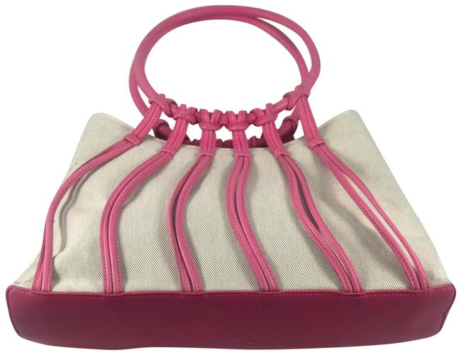 Item - Pink/ White Leather Canvas Hobo Bag