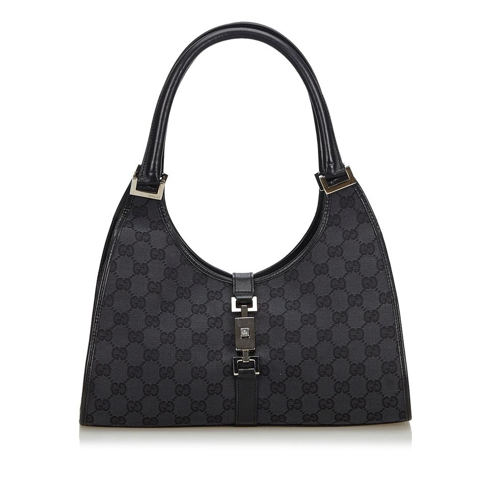 51fa373e05a Gucci Jackie W Gg Italy Dust Medium Black Canvas Leather Shoulder ...