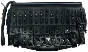 Prada Leather Beaded Fringe Clutch Wristlet in Black