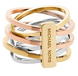 Michael Kors MKJ4421 Michael Kors Tri Tone Intertwined Polished Ring