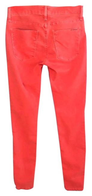 Item - Cherry Dark Rinse Nico Mid Super 25 Red- Faux Front Pockets - Distressed Faded Style Skinny Jeans Size 0 (XS, 25)