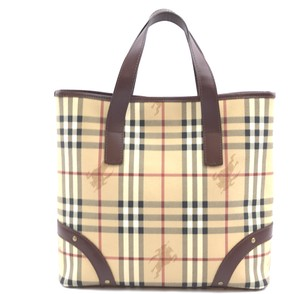 Burberry Check Pattern Haymarket Tote in beige and brown leather