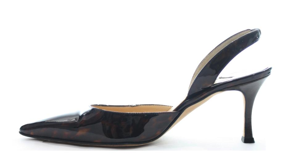 bd35fee4588f4 Manolo Blahnik Patent Leather Slingback 6.5 Pumps Size EU 36.5 ...