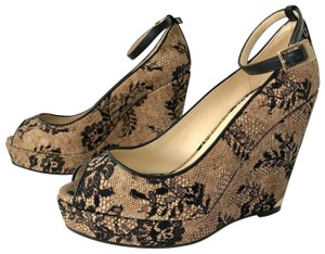 Jimmy Choo Cork Lace Floral Nude Wedges