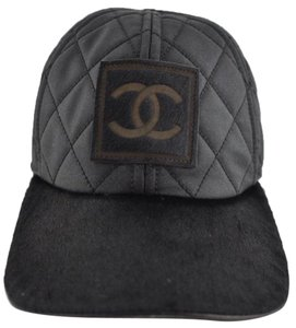 82fa683f04e6fb Chanel Chanel black 06a Cascuette Quilted CC logo Pony Hair Fur Baseball Hat  size L