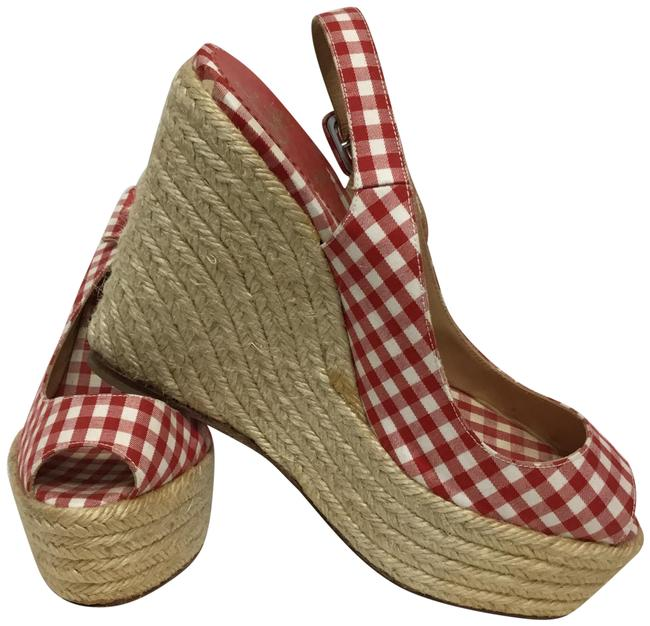 Item - Red And White Gingham Slingback Peep Wedges Size EU 38 (Approx. US 8) Regular (M, B)