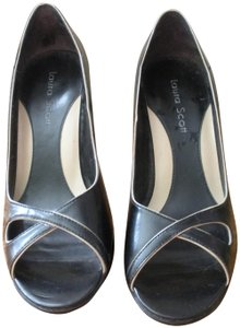 Laura Scott Women's Shoes Pumps Black Leather Laura Scott