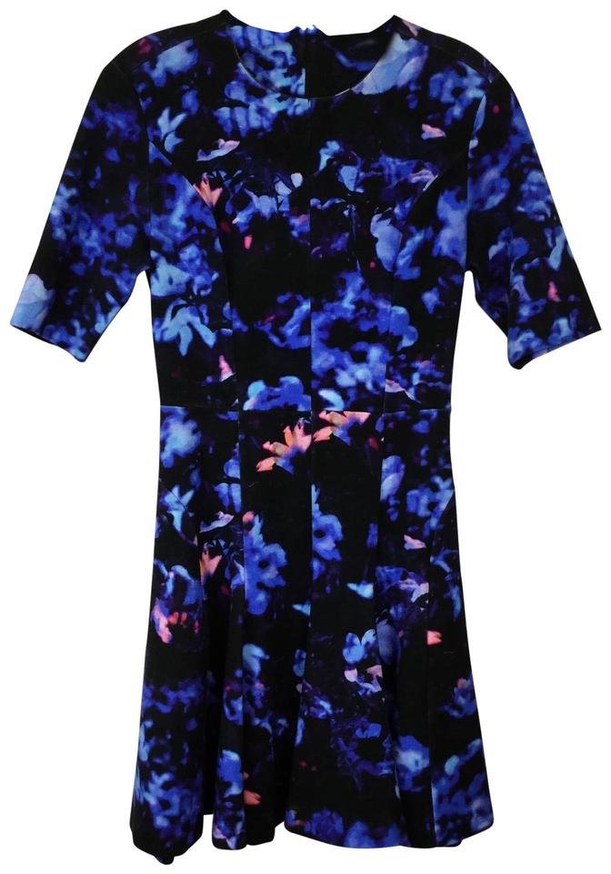 MCQ by Alexander McQueen Blue Floral Print Short Cocktail Dress Size 4 (S)  85% off retail