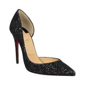 Christian Louboutin Leather Pointed Toe Sparkle Glitter Black Pumps